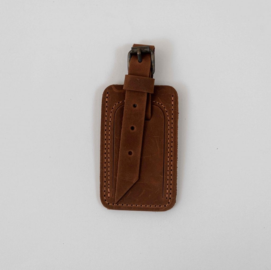 COGNAC LEATHER LUGGAGE TAG