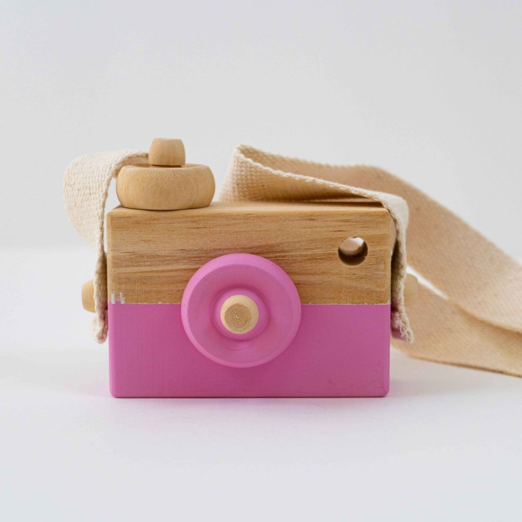 Wooden Mini Camera Toy  Pink