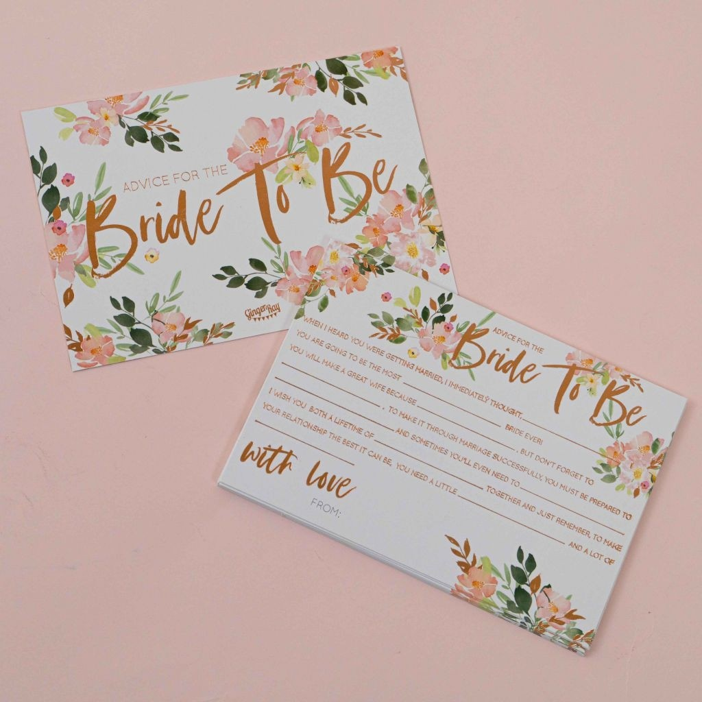 Floral Hen Party -Bride To Be Advice Cards