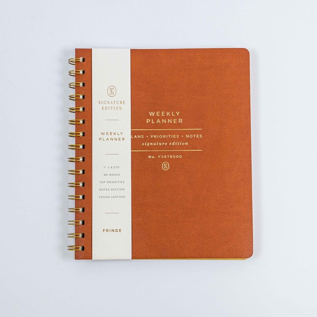 Cognac Faux Leather Nonedated Weekly Planner