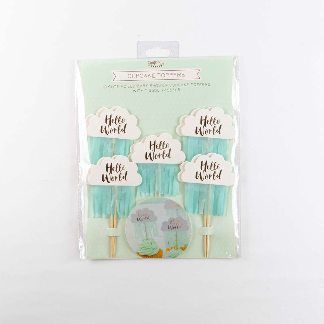 HELLO WORLD BABY SHOWER CAKE TOPPERS